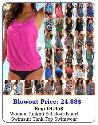 women tankini set boardshort swimsuit tank top swimwear summer holiday beachwea