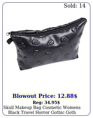 skull makeup bag cosmetic womens black travel horror gothic goth vampire gif