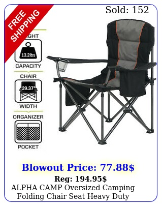 alpha camp oversized camping folding chair seat heavy duty support lbsblac