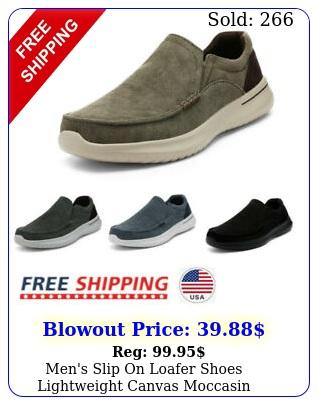 men's slip on loafer shoes lightweight canvas moccasin walking shoes sneaker