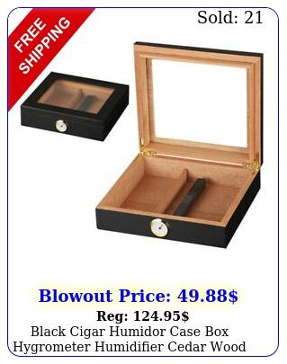 black cigar humidor case hygrometer humidifier cedar wood glass deskto