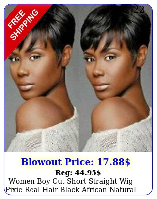 women boy cut short straight wig pixie real hair black african natural full wig