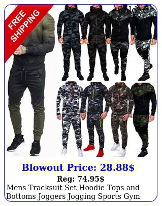 mens tracksuit set hoodie tops bottoms joggers jogging sports gym sweat sui