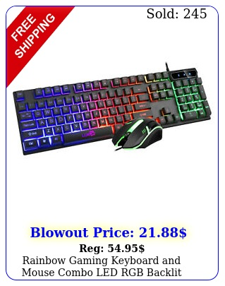 rainbow gaming keyboard mouse combo led rgb backlit mechanical wired keybpa