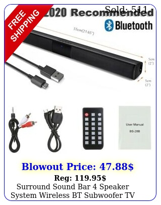 surround sound bar speaker system wireless bt subwoofer tv home theaterremot