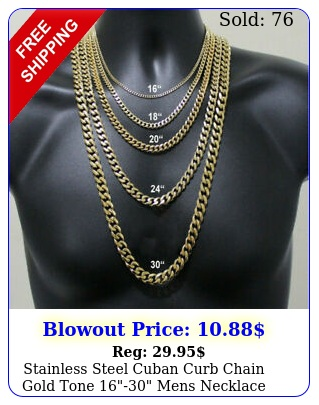 stainless steel cuban curb chain gold tone mens necklace m