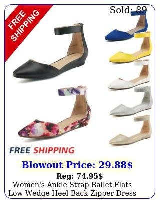 women's ankle strap ballet flats low wedge heel back zipper dress flat shoe