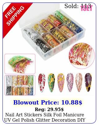 nail art stickers silk foil manicure uv gel polish glitter decoration diy gif