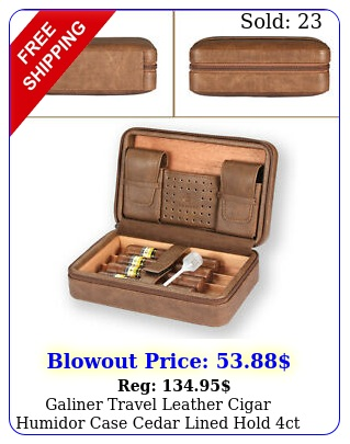 galiner travel leather cigar humidor case cedar lined hold ct w gift brow