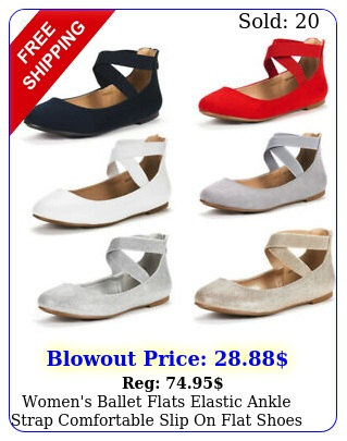 women's ballet flats elastic ankle strap comfortable slip on flat shoe