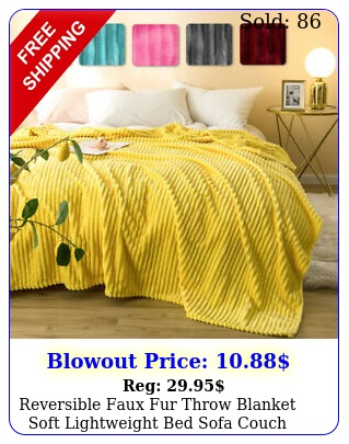 reversible faux fur throw blanket soft lightweight bed sofa couch chair deco