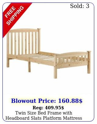 twin size bed frame with headboard slats platform mattress foundation woo