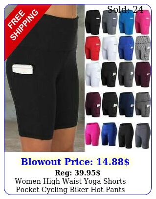 women high waist yoga shorts pocket cycling biker hot pants sports leggings