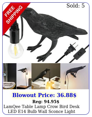 lamqee table lamp crow bird desk led e bulb wall sconce light bedroom deco