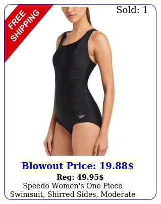 speedo women's one piece swimsuit shirred sides moderate cut black nw