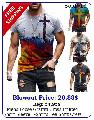 mens loose graffiti cross printed short sleeve tshirts tee shirt crew neck top
