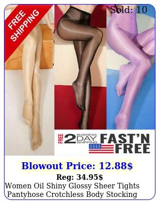 women oil shiny glossy sheer tights pantyhose crotchless body stocking plus siz