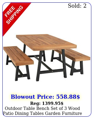 outdoor table bench set of wood patio dining tables garden furniture tea