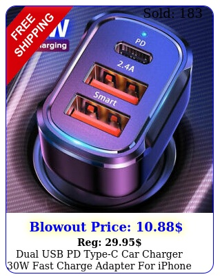 dual usb pd typec car charger w fast charge adapter iphone  pro ma