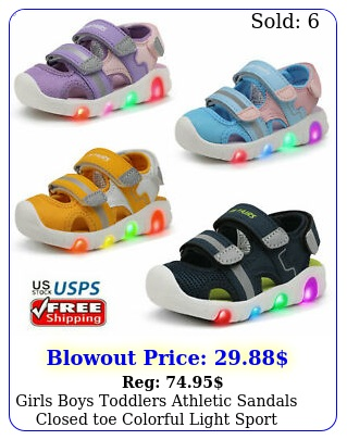 girls boys toddlers athletic sandals closed toe colorful light sport sandal