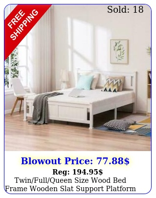 twinfullqueen size wood bed frame wooden slat support platform w hea