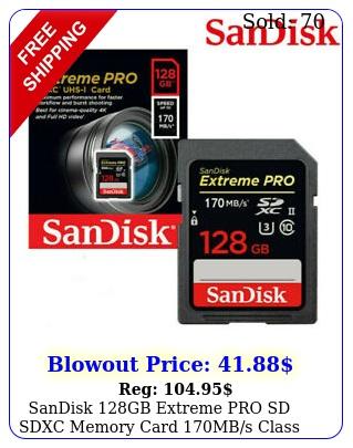 sandisk gb extreme pro sd sdxc memory card mbs class uhs u k