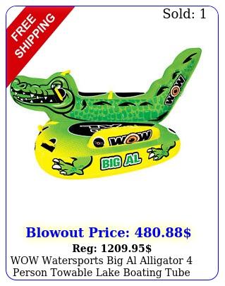wow watersports big al alligator person towable lake boating tube raft gree