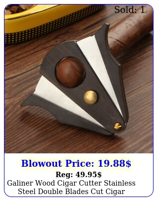 galiner wood cigar cutter stainless steel double blades cut cigar scissors m