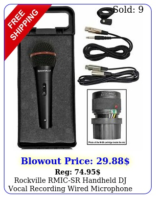 rockville rmicsr handheld dj vocal recording wired microphone cables mic cas