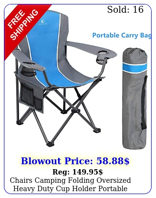 chairs camping folding oversized heavy duty cup holder portable outdoor chai