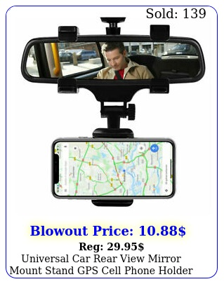 universal car rear view mirror mount stand gps cell phone holder rotation u