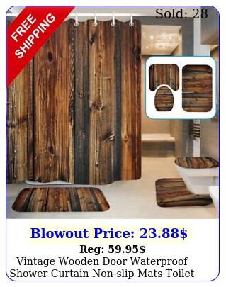 vintage wooden door waterproof shower curtain nonslip mats toilet cover se