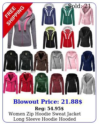 women zip hoodie sweat jacket long sleeve hoodie hooded sweatshirt outwear top