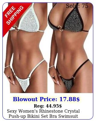 sexy women's rhinestone crystal pushup bikini set bra swimsuit beach swimwea