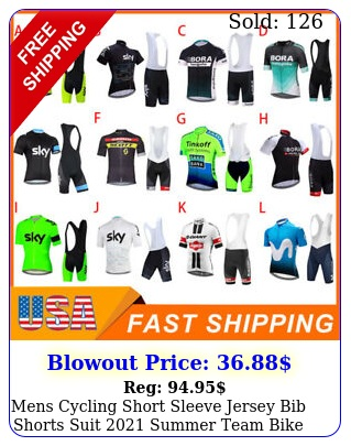 mens cycling short sleeve jersey bib shorts suit summer team bike unifor
