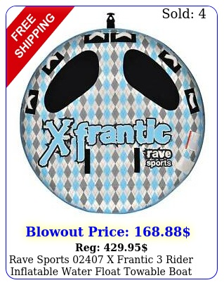 rave sports x frantic rider inflatable water float towable boat tub