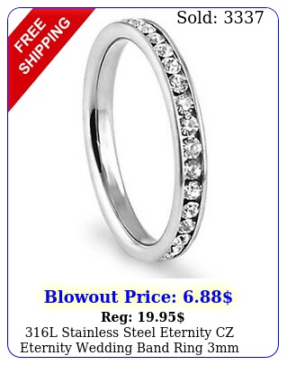 l stainless steel eternity cz eternity wedding band ring m