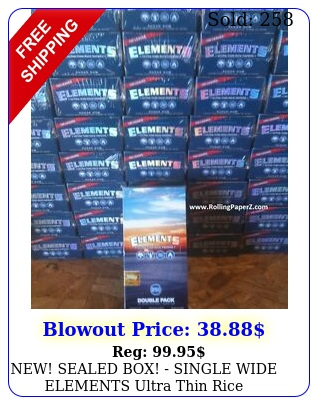 new sealed box single wide elements ultra thin rice cigarette rolling paper