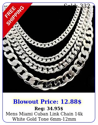 mens miami cuban link chain k white gold tone mmmm necklace
