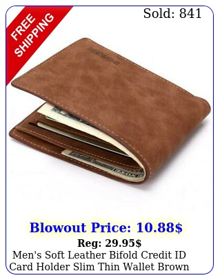 men's soft leather bifold credit id card holder slim thin wallet brow