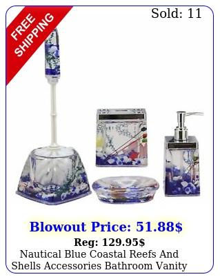 nautical blue coastal reefs shells accessories bathroom vanity gift set p