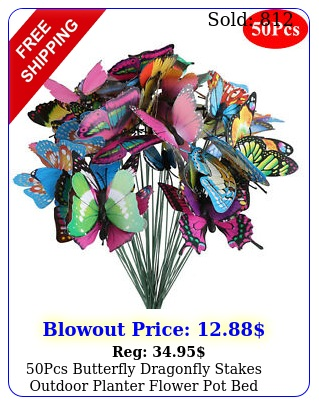 pcs butterfly dragonfly stakes outdoor planter flower pot bed garden decor ar