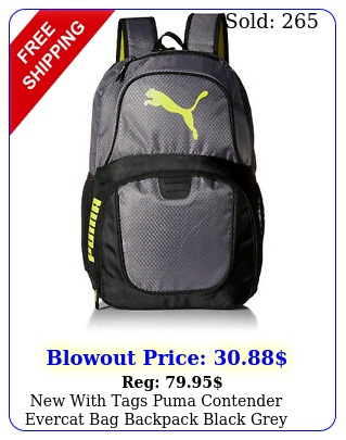 with tags puma contender evercat bag backpack black grey gol