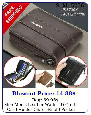 men men's leather wallet id credit card holder clutch bifold pocket zipper coi