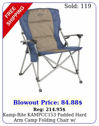 kamprite kampcc padded hard arm camp folding chair w cupholder blue ta