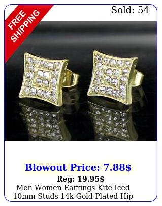 men women earrings kite iced mm studs k gold plated hip hop stainless stee