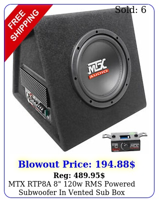 mtx rtpa w rms powered subwoofer in vented sub enclosure bass remot