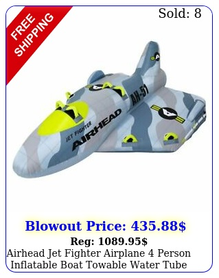 airhead jet fighter airplane person inflatable boat towable water tube raf