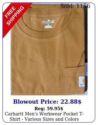 carhartt men's workwear pocket tshirt various sizes color