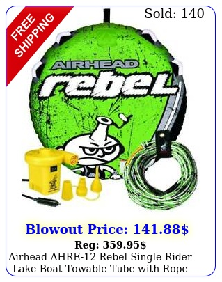 airhead ahre rebel single rider lake boat towable tube with rope pump ki